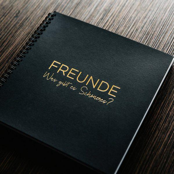 Freundebuch Gold/Schwarz Frontansicht