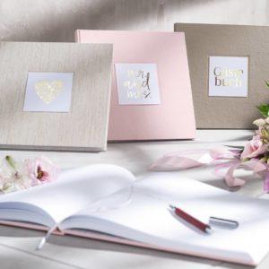 Gästebucher Natur, Rosé und Cappuccino Frontansicht