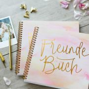 Freundebuch Aquarell/Warm Grey Frontansicht
