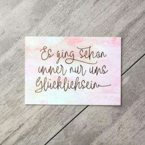"""Postkarte """"glücklichsein"""" Aquarell/Gold"""