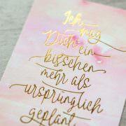 """Postkarte """"Ein bisschen mehr"""" Aquarell/Gold Detail"""