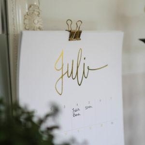 Geburtstagskalender/Immerwährender Kalender Detailansicht Juli