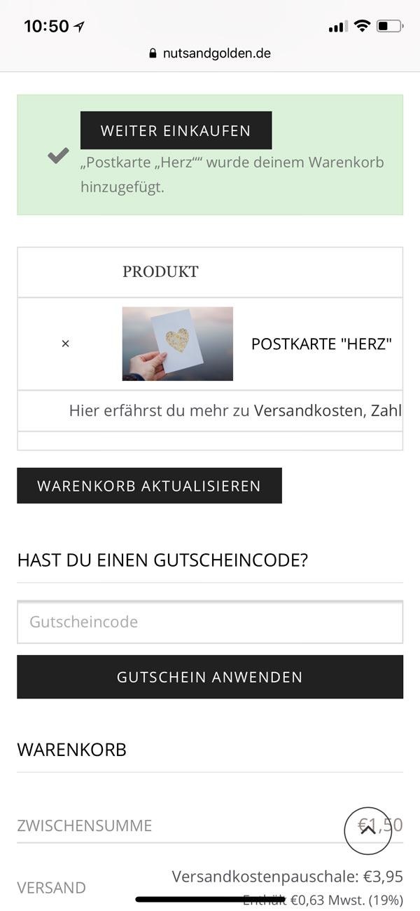 screenshot product table cart mobile