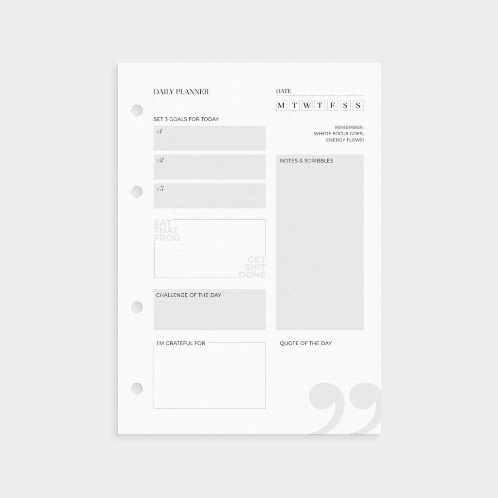 Daily Planner Seite mit Datum Goals Notes und mehr