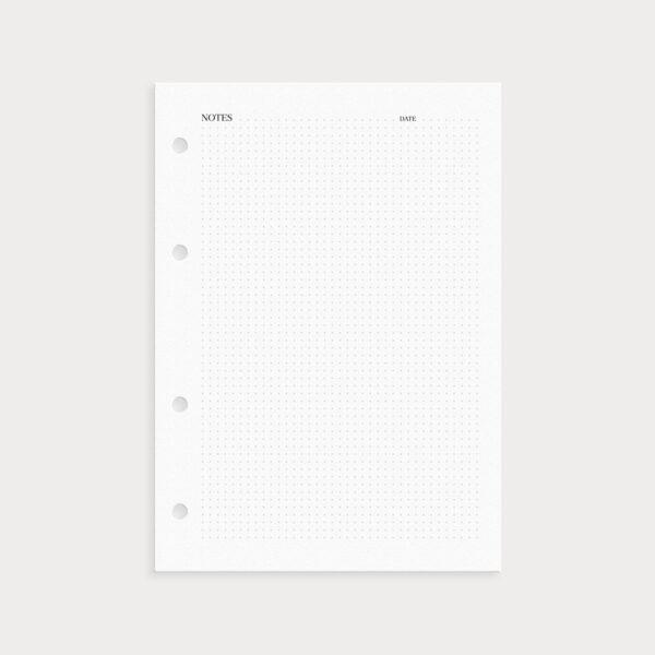 Notizseite Notes gepunktet mit Datumsangabe