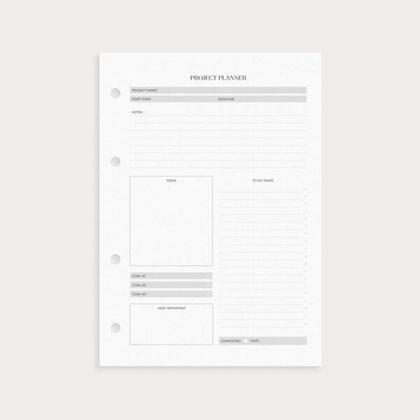 Project Planner Vorderseite To Dos, Ideen und Notizen