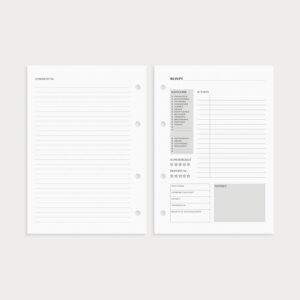 Rezeptkarte Kategorie, Zutaten und Zubereitung auf der Rückseite