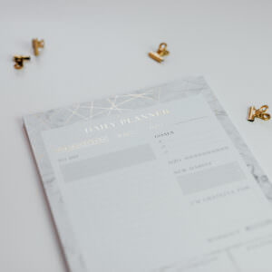 Daily Planner Marble und goldene Foldback Klammern