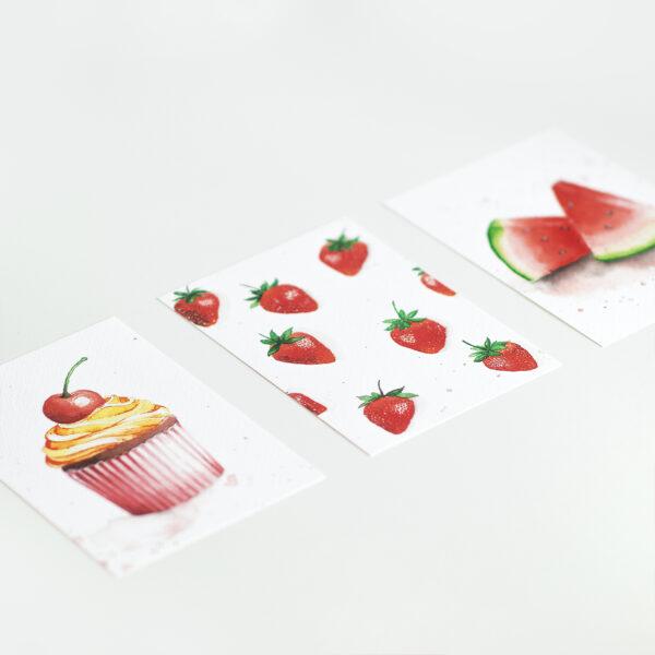 Postkartenset Aquarell Watercolor mit Cupcake Wassermelone und Erdbeeren