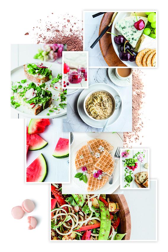 Rezeptbuch Moodboard mit Waffeln Bowls und leckerem Obst