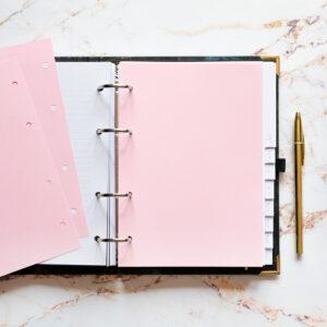 Bullet Journal mit Notizseiten hellrosa und goldenem Kuli