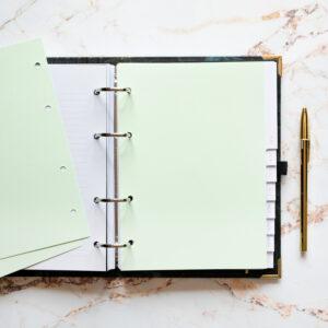 Bullet Journal Greenery mit Norizseiten hellgrün