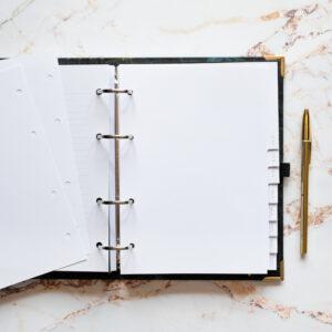 Bullet Journal Notizseiten Blanko weiß 120 g/qm