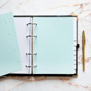 Bullet Journal mit hellblauen Notizseiten und goldenem Kuli