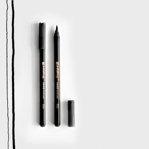 Edding Brush Pen Schwarz mit Pinselspitze