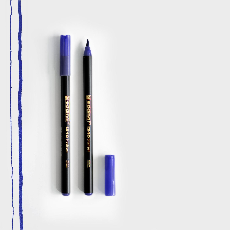 Edding Brush Pen Blau mit Pinselspitze