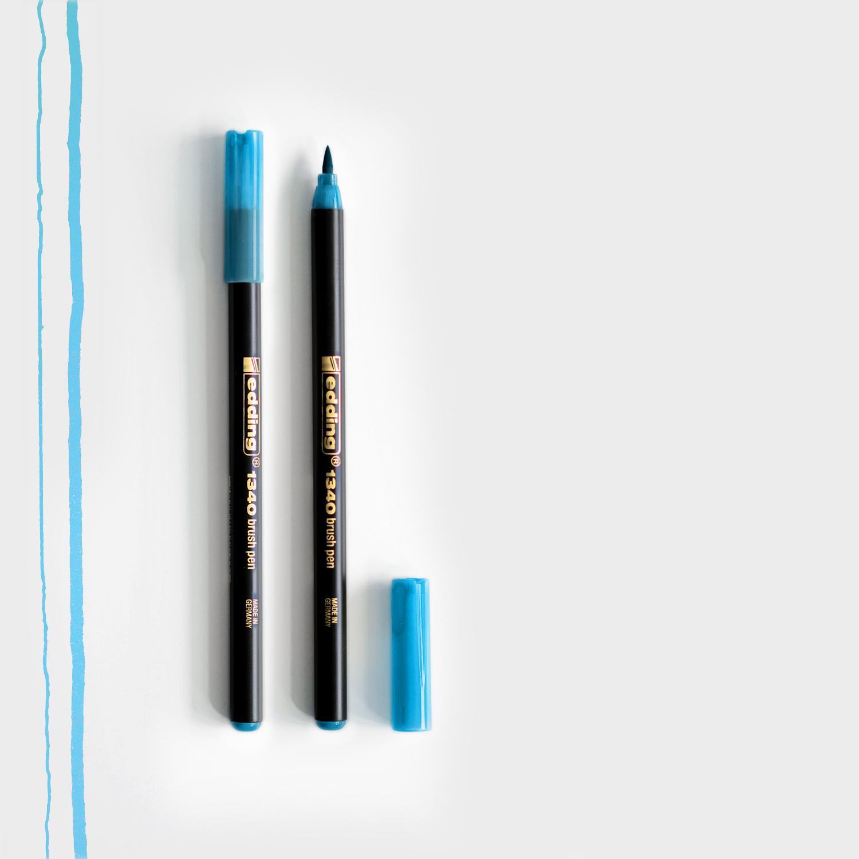 Edding Brush Pen Hellblau mit Pinselspitze