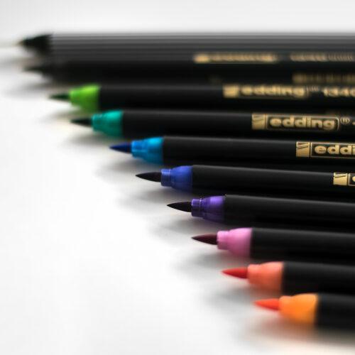 Edding Brush Pen Set Bunt mit Pinselspitzen