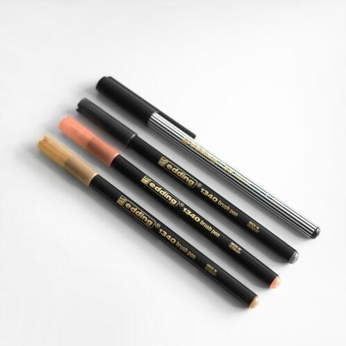 Edding brush Pens Nude und Fineliner