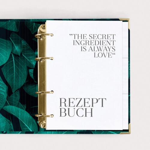 Rezeptbuch Greenery mti weißen Registern und Rezeptkarten