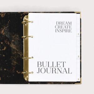 Bullet Journal Black im Ringbuch mit gepunkteten Seiten