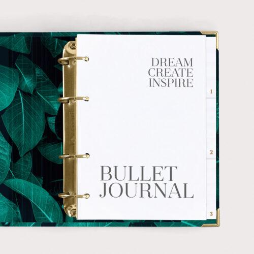 Bullet Journal Greenery im Ringbuch mit weißen Registern