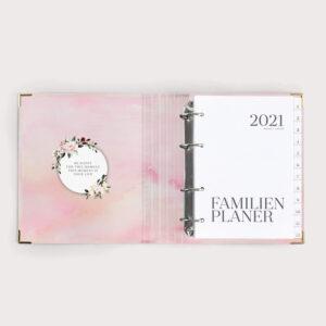Familienplaner Aquarell mit weißen Registern