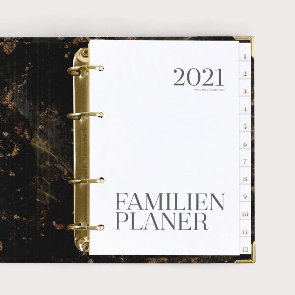 Familienplaner Black 2021 mit weißen Registern