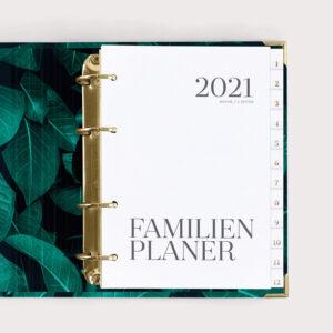 Familienplaner Greenery mit weißen Registern