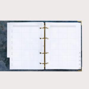Familienplaner Midnight im Ringbuch mit Terminübersicht