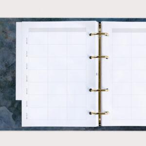 Familienplaner Midnight im Ringbuch mit sechs Spalten für die ganze Familie