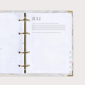 Familienplaner White mit Monatsseite Juli für Gedanken und wichtige Notizen