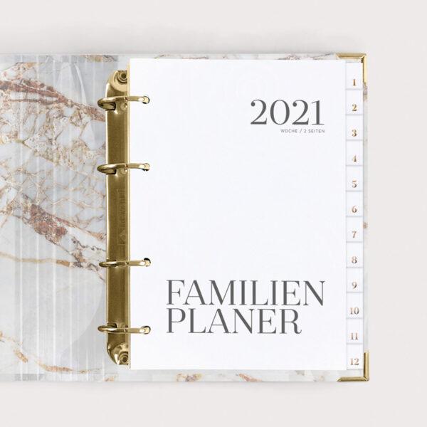 Familienplaner White 2021 mit weißen Registern