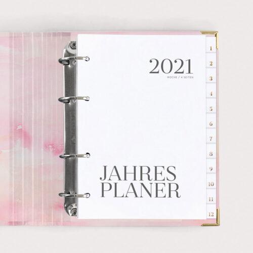 Jahresplaner Aquarell 2021 mit weißen Registern