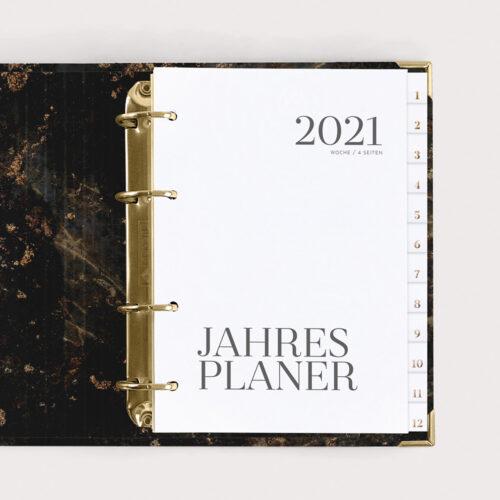 Jahresplaner Black 2021 mit weißen Registern