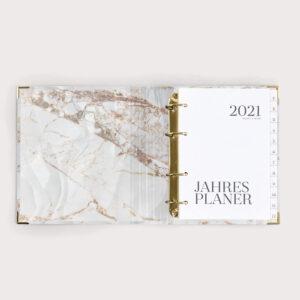 Jahresplaner White 2021 mit weißen Registern