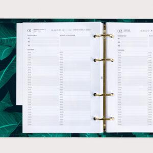goldene Mechanik Ringbuch Planer linke Seite