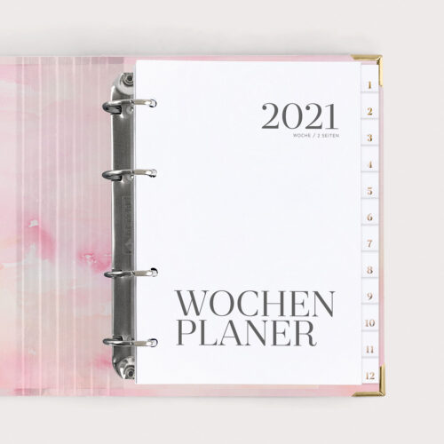 Wochenplaner Aquarell mit Registern 2021