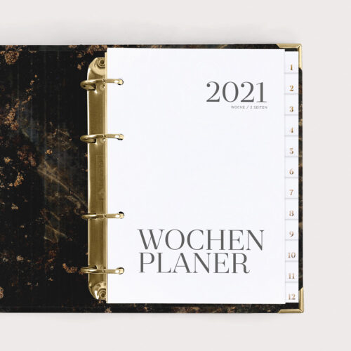 Wochenplaner Black 2021 mit Registern