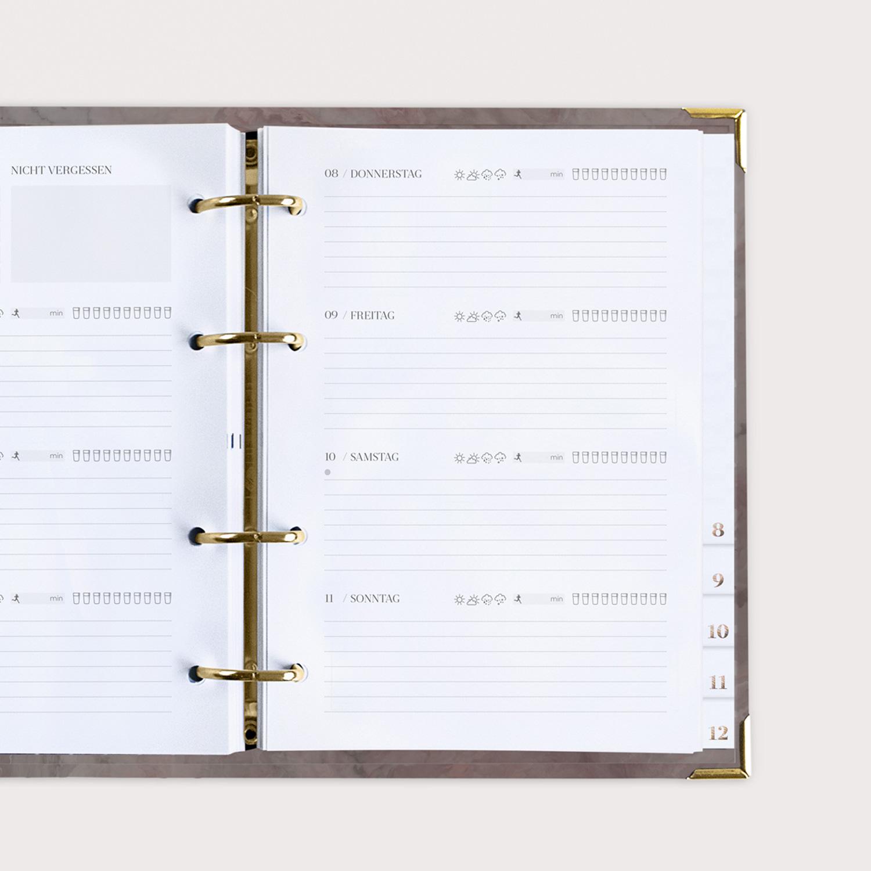 Wochenplaner Nude mit Wochenübersicht im Ringbuch
