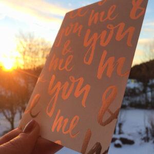 Karte You&Me bei Sonnenuntergang