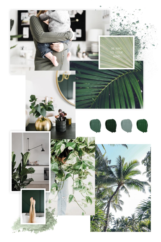 Greenery Moodboard Pflanzen und grüne Accessoires