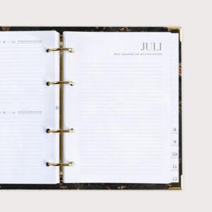 Jahresplaner Black Monatsübersicht mit Zielen Gedanken und wichtigen Notizen