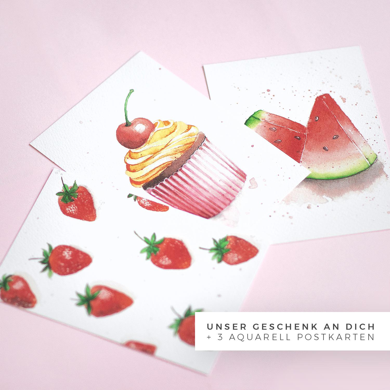 Postkarte Aquarell mit Erdbeeren Cupcake und Melone