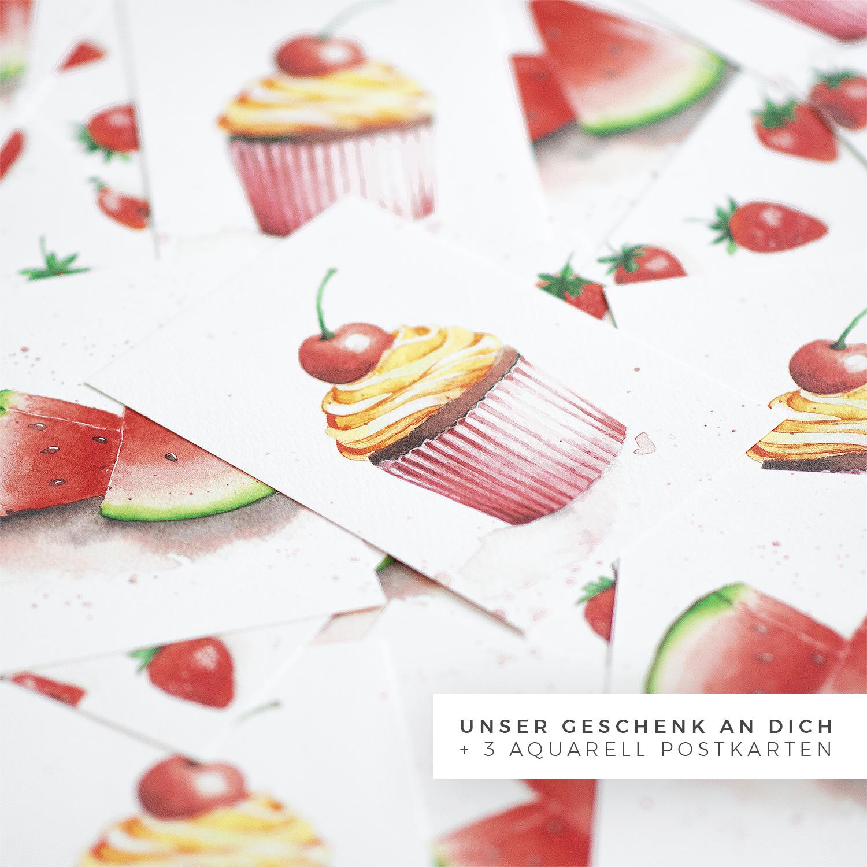Postkarte Aquarell Dreierset