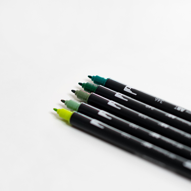 Brush Pen Set Greenery mit Doppelspitze