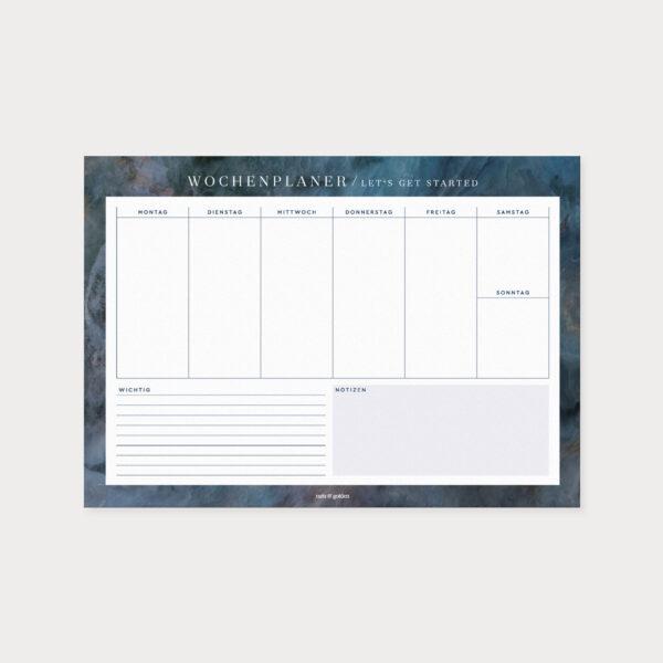 Wochenplaner Midnight A4 mit Wochentagen und Platz für Notizen