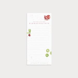 Einkaufsliste mit Watercolor Bildern und Linien