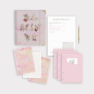 Planer Bundle Aquarell mit Ringbuch und Tagesplaner sowie roséfarbenen Taschen und passenden Stickerbögen
