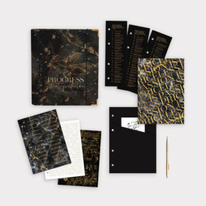 Planer Bundle Black mit Ringbuch Notizbuch und Stickerbögen